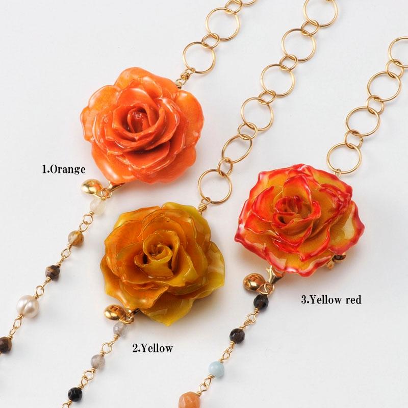 【 価格改定 お買い得商品 】blooming rose middle necklace(group2) 天然石 ロングネックレス 本物の花 バラ