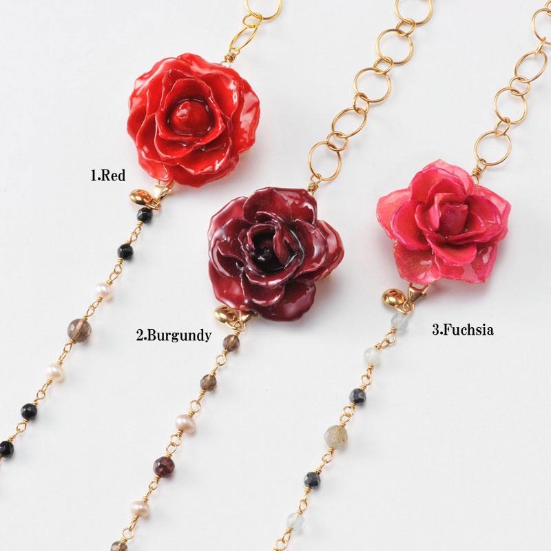 【 価格改定 お買い得商品 】blooming rose middle necklace(group3) 天然石 ロングネックレス 本物の花 バラ
