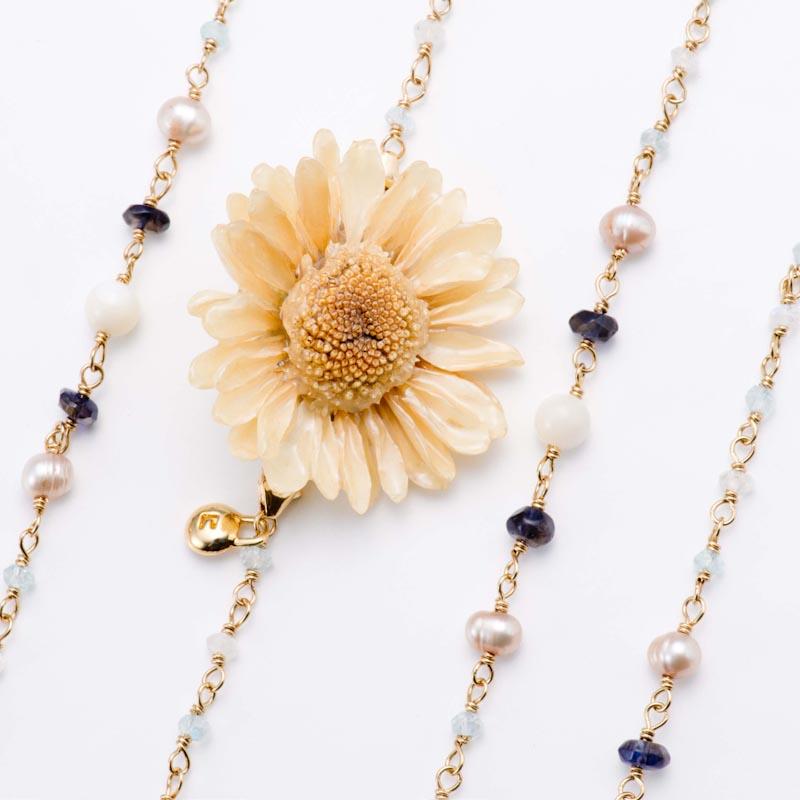 sunflowerpuma necklace (white) 本物の花 ネックレス サンフラワー