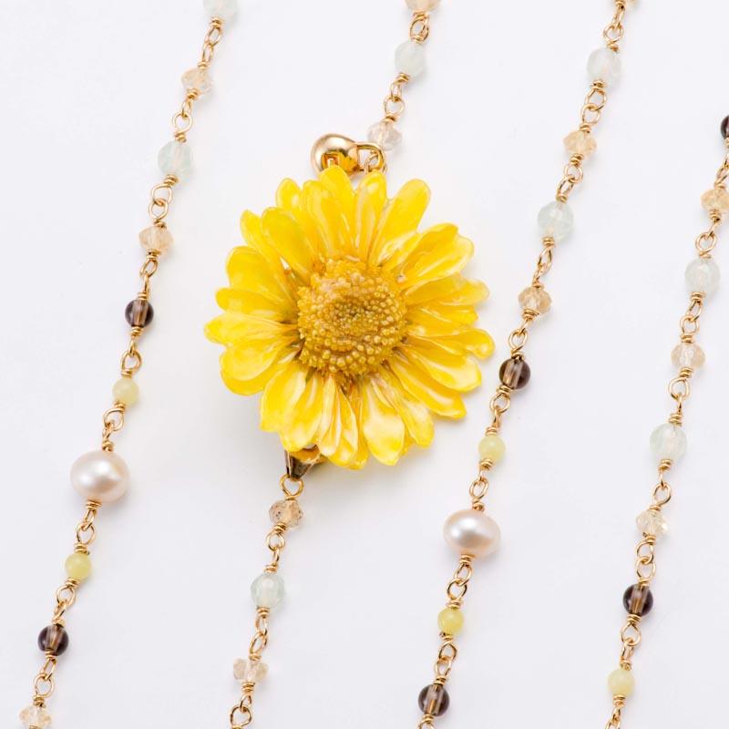 sunflowerpuma necklace (yellow) 花 ネックレス サンフラワー