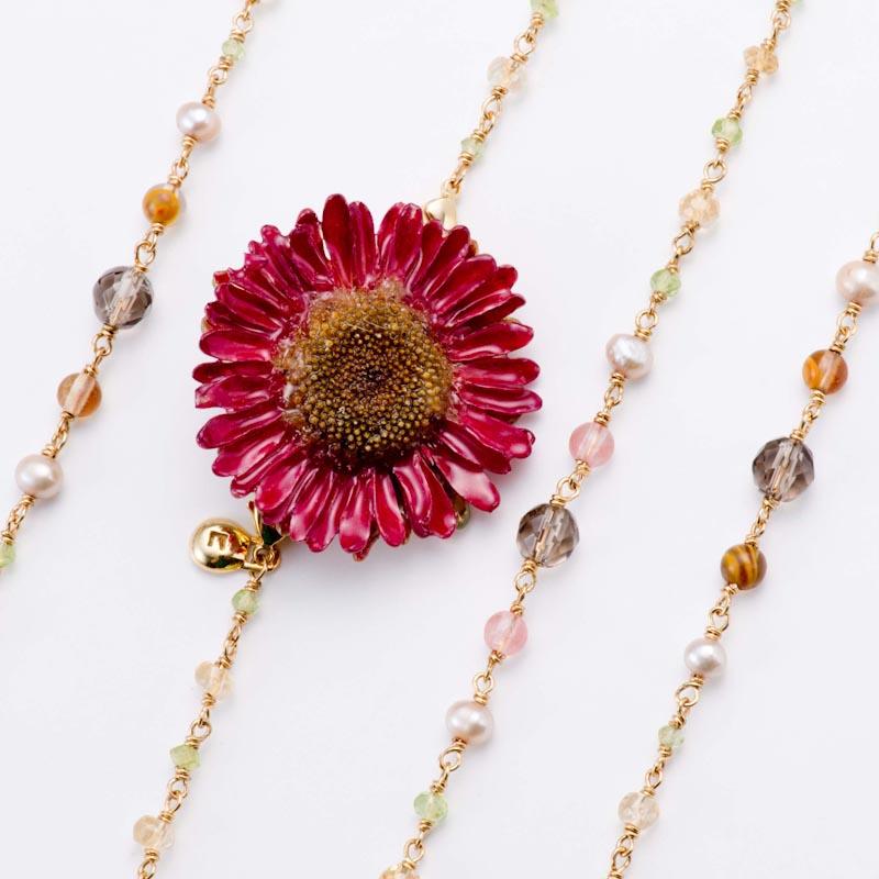 sunflowerpuma necklace (burgundy) 花 ネックレス サンフラワー