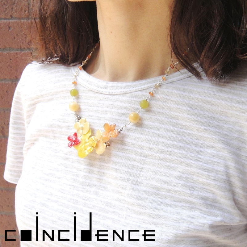 hydrangea cluster short necklace 天然石 ネックレス 花 アジサイ