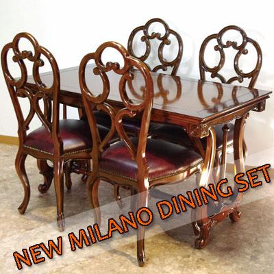 特価/NEW MILANOダイニング5点セットハープデザインのテーブルの脚とフレッツェルチェアのデザインが楽しめる☆【送料無料・開梱サービス付】実用的でクラシックな感じでおしゃれです♪