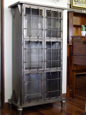 Three Steps Of Handsome Bookshelf Cabinet Glass Door Antique Finished Product Steel