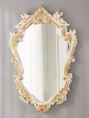 ロココ調 天使ミラー 大 高さ93cm 送料無料高級 鏡 ロココ プリンセス ヨーロピアン 天使 エンジェル 姫 姫系 おしゃれ インテリア 輸入家具 白家具 エレガント 高級 壁 壁掛け ホワイト 玄関 白壁 ウォール 韓国製