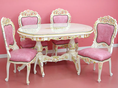 Stylish Table White Furniture Princess System Rose Dining Room Four Set Five Points