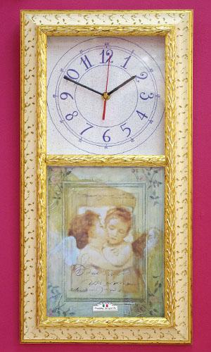 イタリアより直輸入/時計天使の額絵+時計コラボ☆ファーストキッス時計【送料無料】結婚お祝い・お誕生日プレゼントにも!