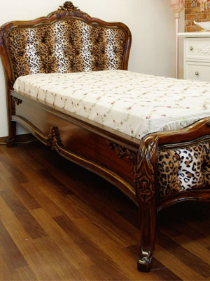 Baroque Bed Pocket Coil Mat With Single Leopard Print Fabric