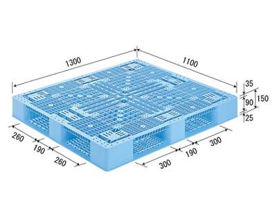 【メーカー直送】 法人様限定 D4-1113-2 サンコー プラスチックパレット 三甲 ライトブルー (プラパレ)