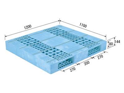 【メーカー直送】 法人様限定 R2-1112F サンコー プラスチックパレット 三甲 ライトブルー (プラパレ)