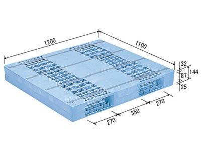 【メーカー直送】 法人様限定 D2-1112F サンコー プラスチックパレット 三甲 ライトブルー (プラパレ)