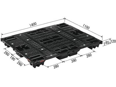 【メーカー直送】 法人様限定 SN4-1114 サンコー プラスチックパレット 三甲 ブラック (プラパレ)