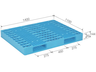 【メーカー直送】 法人様限定 R2-1114-5 サンコー プラスチックパレット 三甲 ライトブルー (プラパレ)
