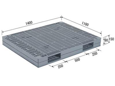 【メーカー直送】 R-1114-2 サンコー プラスチックパレット 三甲 グレー (プラパレ)