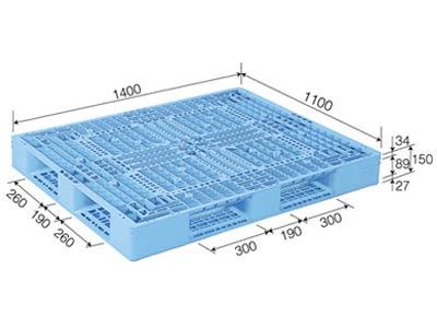 【メーカー直送】 D4-1114-2 サンコー プラスチックパレット 三甲 ライトブルー (プラパレ)