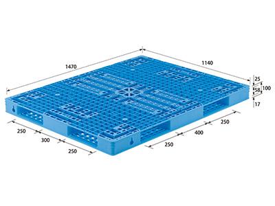 【メーカー直送】 法人様限定 TS-114147R4 サンコー プラスチックパレット 三甲 ライトブルー (プラパレ)