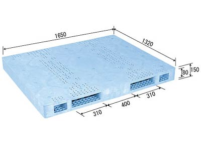【メーカー直送】 法人様限定 R2-132165F サンコー プラスチックパレット 三甲 ライトブルー (プラパレ)
