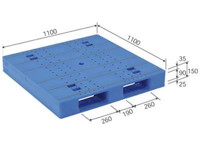 【メーカー直送】 法人様限定 LX-1111D2 サンコー プラスチックパレット 三甲 ブルー (プラパレ)