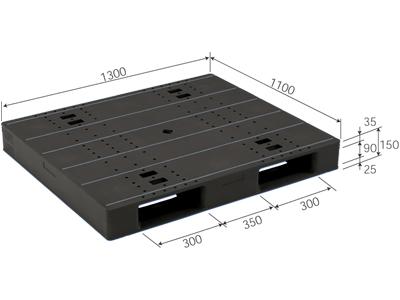【メーカー直送】 LX-1113D2 サンコー プラスチックパレット 三甲 ブラック (プラパレ)