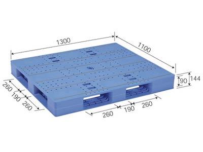 【メーカー直送】 法人様限定 LX-1113D4 サンコー プラスチックパレット 三甲 ブルー (プラパレ)