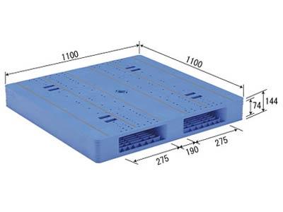 【メーカー直送】 LX-1111R2-4 サンコー プラスチックパレット 三甲 ブルー (プラパレ)