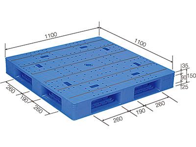 【メーカー直送】 法人様限定 LX-1111D4-2 サンコー プラスチックパレット 三甲 ブルー (プラパレ)