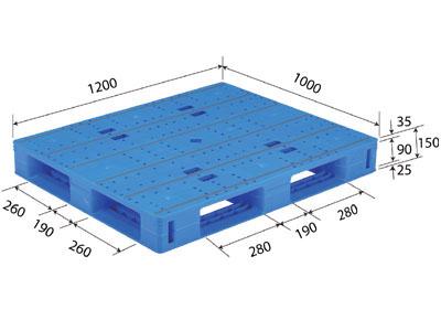 【メーカー直送】 法人様限定 LX-1012D4 サンコー プラスチックパレット 三甲 ブルー (プラパレ)