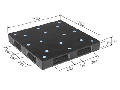 【メーカー直送】 法人様限定 R4-110110P-B サンコー プラスチックパレット 三甲 ブラック (プラパレ)