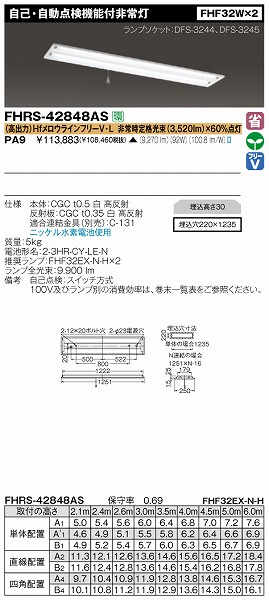 FHRS-42848AS-PA9 【受注生産品】 東芝 非常用照明器具