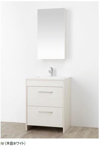 WF014S-600-IV-T2 三栄水栓 洗面化粧台(鏡付) 木目ホワイト SANEI