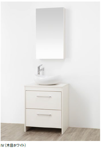 WF015S-600-IV-T4 三栄水栓 洗面化粧台(鏡付) 木目ホワイト SANEI