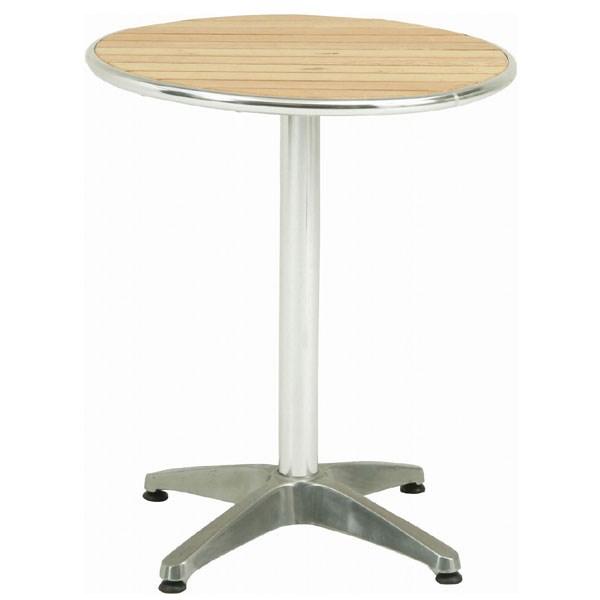 ガーデンファニチャー テーブル テーブル ガーデン家具 65039 アルミテーブル φ60 オーク天板 (JL-10W)