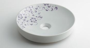 493-097-PU カクダイ 丸型手洗器 ラベンダー KAKUDAI