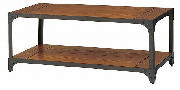 【メーカー直送】 天然木 センターテーブル ローテーブル スチール脚 収納棚 アジャスター付き ブラック