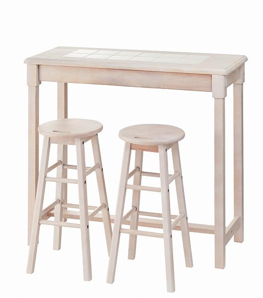 【メーカー直送】 カウンターテーブル スツール セット コーヒーテーブル 椅子 イス ホワイト 木製 天然木