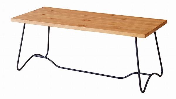 【メーカー直送】 コーヒーテーブル センターテーブル 天然木 アイアン ミディアムブラウン モダン