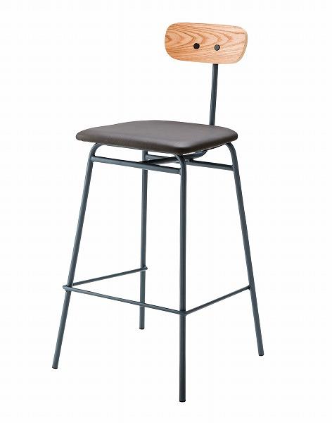 【メーカー直送】 ハイチェア 椅子 イス ソフトレザー グレー