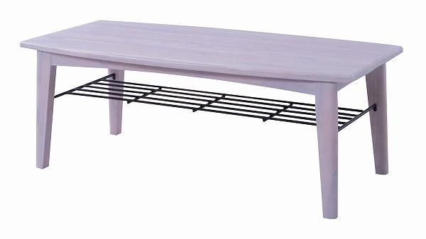 【メーカー直送】 コーヒーテーブル センターテーブルL 収納棚付き 天然木 ブリジット