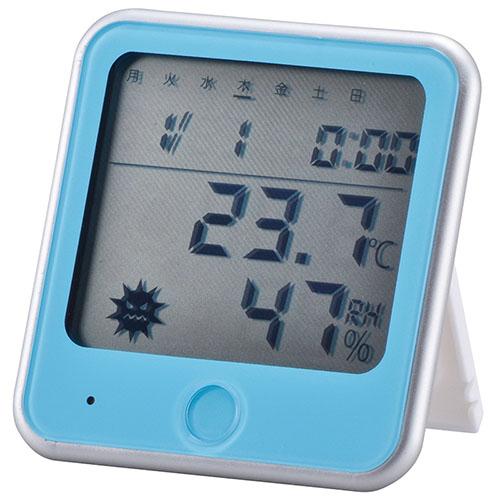 オーム電機 大特価!! 期間限定お試し価格 TEM-300-Aインフルエンザ熱中症注意機能付き 温湿度計 青 08-0026TEM300A 品番