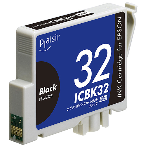 リーズナブルな価格の互換インクカートリッジ プレジール 数量は多 汎用インク 驚きの価格が実現 プリンター用交換インク Plaisir PLE-E32B ブラック エプソン インクカートリッジ ICBK32互換