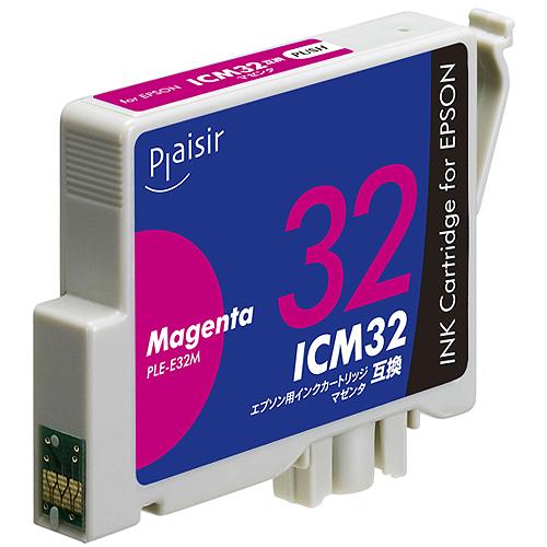 日本メーカー新品 リーズナブルな価格の互換インクカートリッジ プレジール 汎用インク プリンター用交換インク Plaisir ICM32互換 予約販売 インクカートリッジ エプソン PLE-E32M マゼンダ