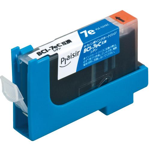 リーズナブルな価格の互換インクカートリッジ プレジール 汎用インク プリンター用交換インク Plaisir PLE-CA07EC 推奨 シアン ギフト インクカートリッジ BCI-7eC互換 キャノン