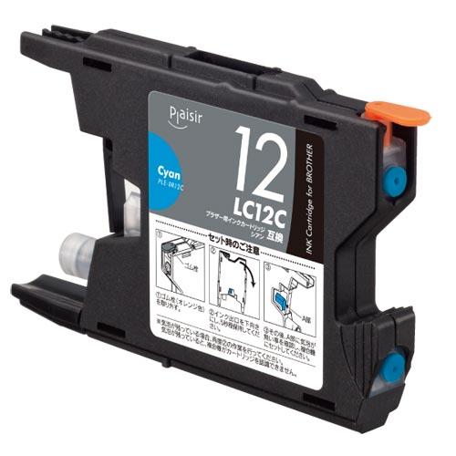 リーズナブルな価格の互換インクカートリッジ デポー プレジール 汎用インク プリンター用交換インク オリジナル Plaisir LC12C互換 PLE-BR12C ブラザー シアン インクカートリッジ