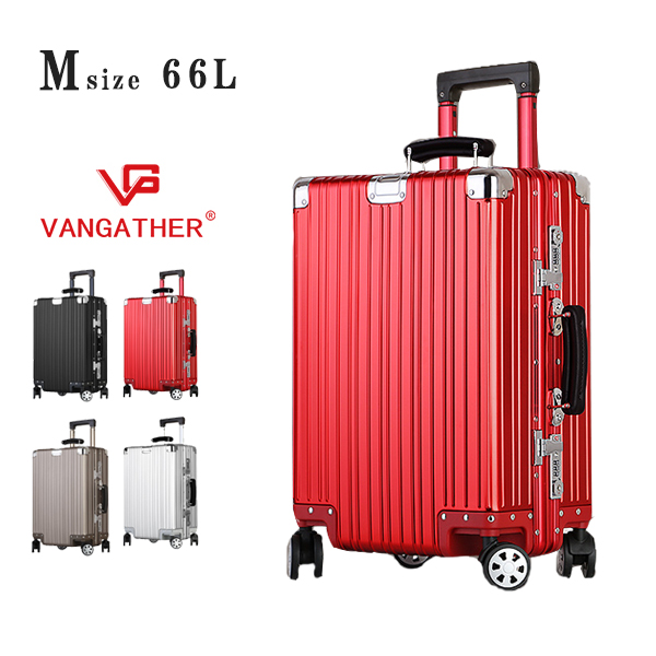 (SS)(新春感謝祭)スーツケース キャリーケース キャリーバッグ vangather [6188-m] Mサイズ アルミ 全4色 TSAロック搭載 24インチ シルバー 3~5泊 4輪キャスター 海外 おすすめ ブランド 【gwtravel_d19】