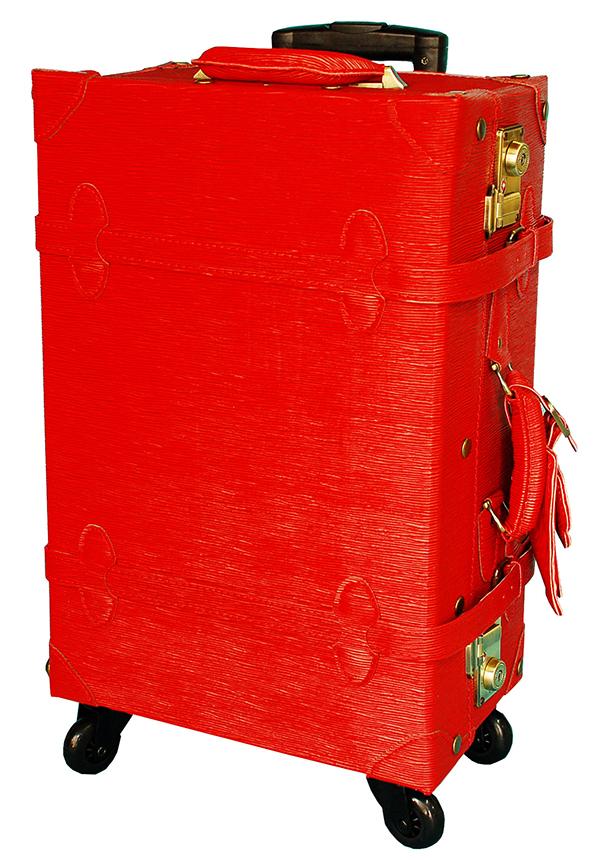 【ギフト対象】 キャリーケース ◆HANAism◆ レッド/赤 シボ調型押し TSAロック トランクキャリー Mサイズ 19インチ 4輪 人気ブランド ハナイズム レトロ かわいい キャリーバッグ