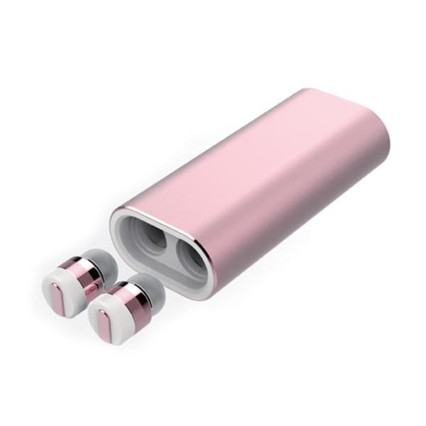 イヤホン Bluetooth ブルートゥース Beat-in ビートイン Power Bank ローズゴールド 【送料無料】 完全独立型 左右独立型 ワイヤレス イヤホン 小型 モバイルバッテリー付 iPhone7 iPhone8 【1年保証】