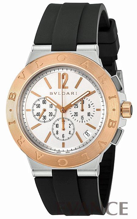 ブルガリ ディアゴノ ヴェロチッシモ クロノ DG41WSPGVDCH-SET-BRW ホワイト メンズ BVLGARI 【新品】【腕時計】