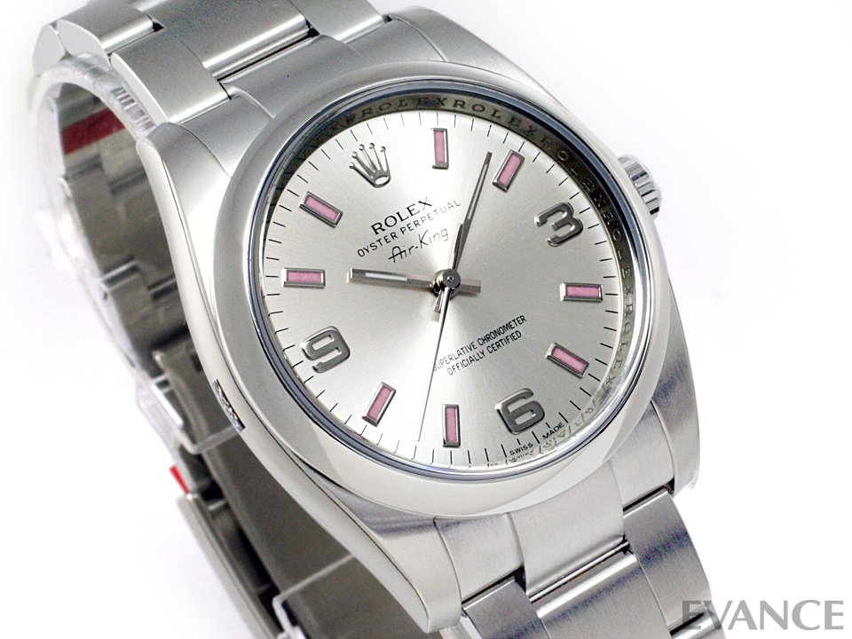 Rolex air King 114200 silver 3.6.9 Arabia (night airglow pink)