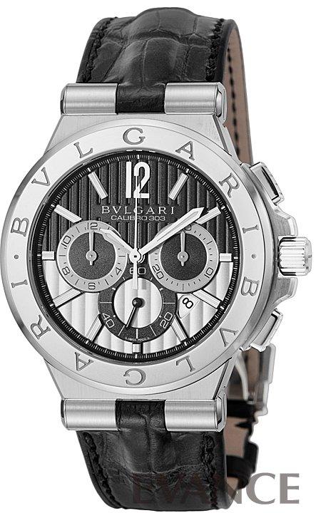 ブルガリ ディアゴノ カリブロ303 クロノ DG42BSLDCH ブラック/シルバー メンズ BVLGARI 【腕時計】