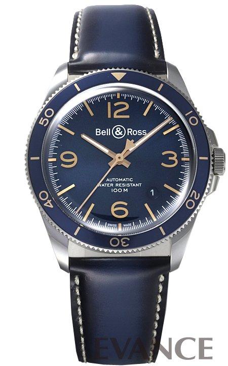 ベル&ロス BR V2-92 アエロナバル BRV2-92-BU-G-ST/SCA ブルー メンズ BELL & ROSS 【新品】【腕時計】